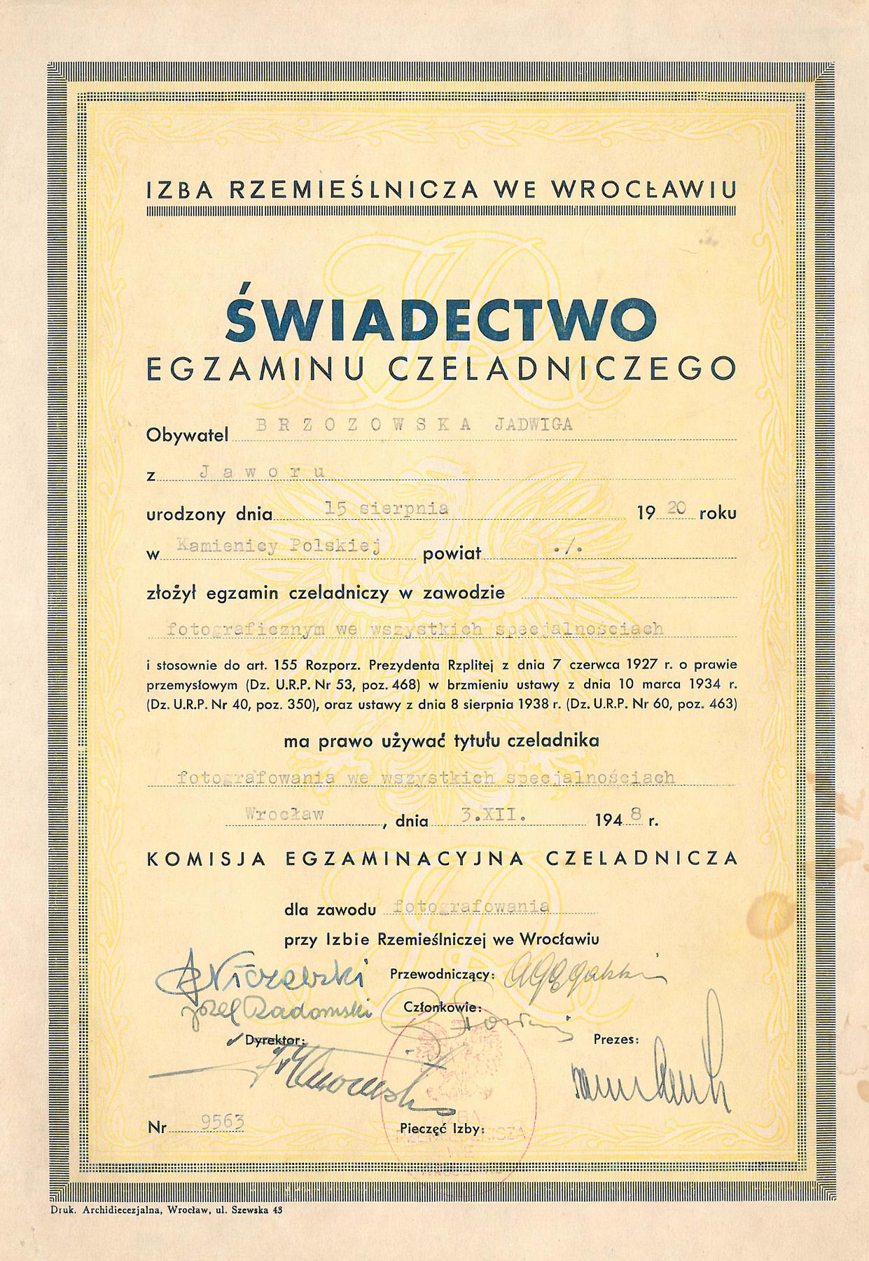 Świadectwo egzaminu czeladniczego Brzozowska Jadwiga