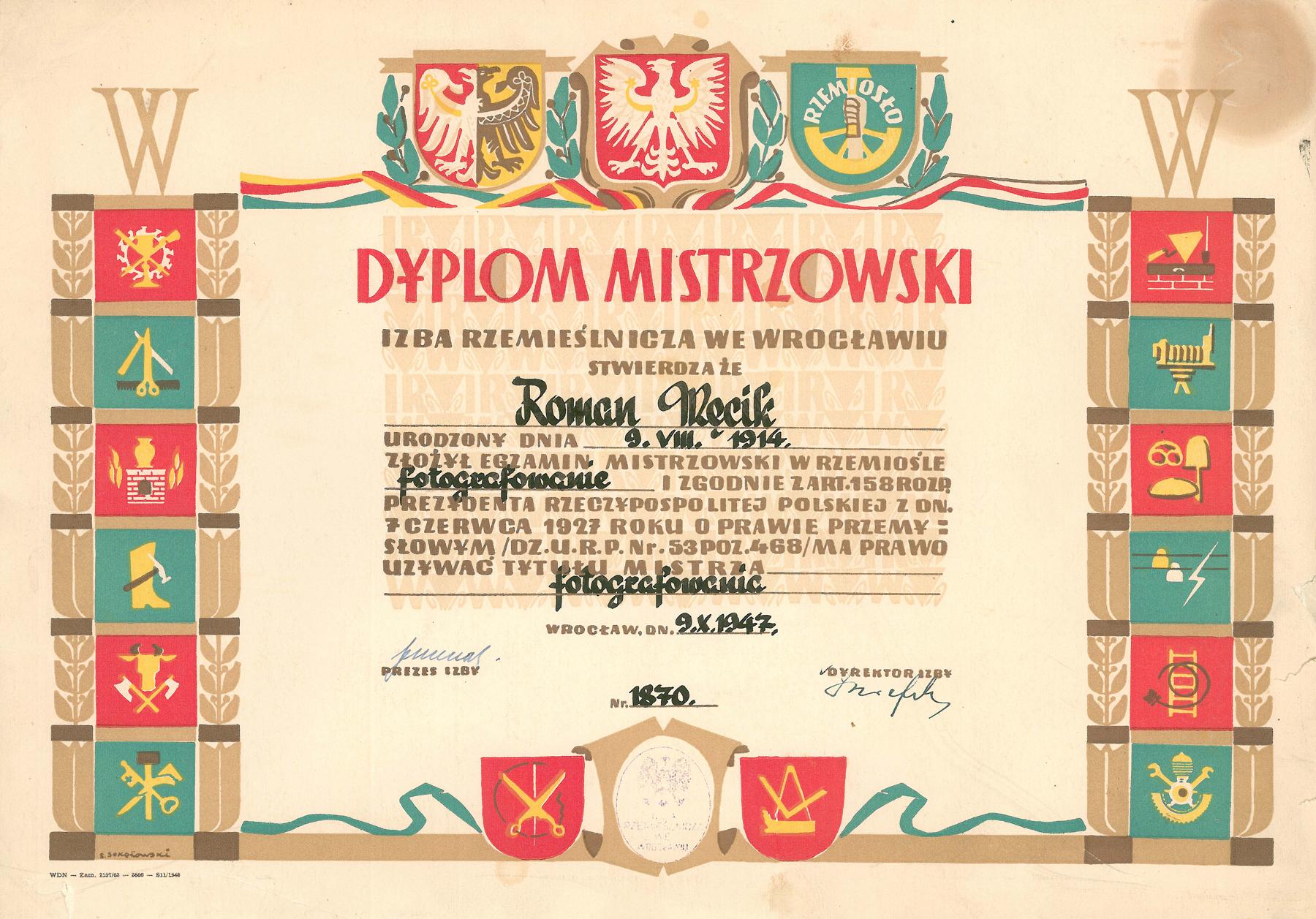 Dyplom Mistrzowski Roman Męcik